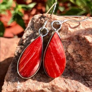 Jewelry - Navajo Sterling Orange Spiny Oyster Earrings